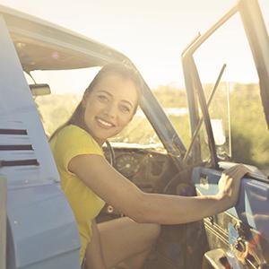 Jane Doe in her truck